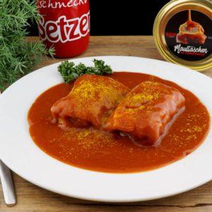 Maultaschen-in-Currysauce Serviervorschlag